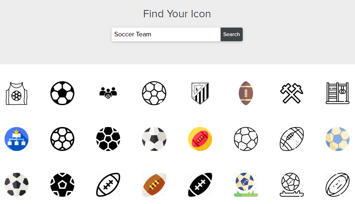 Tailor Brands screenshot - soccer icon library