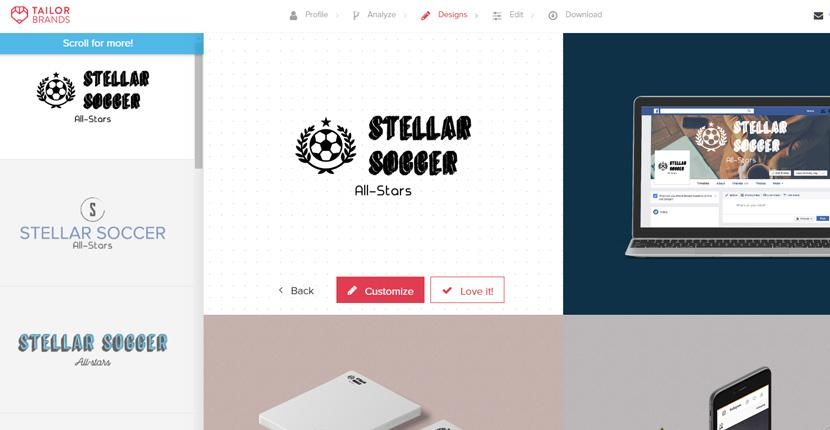 Tailor Brands screenshot - Logo editor