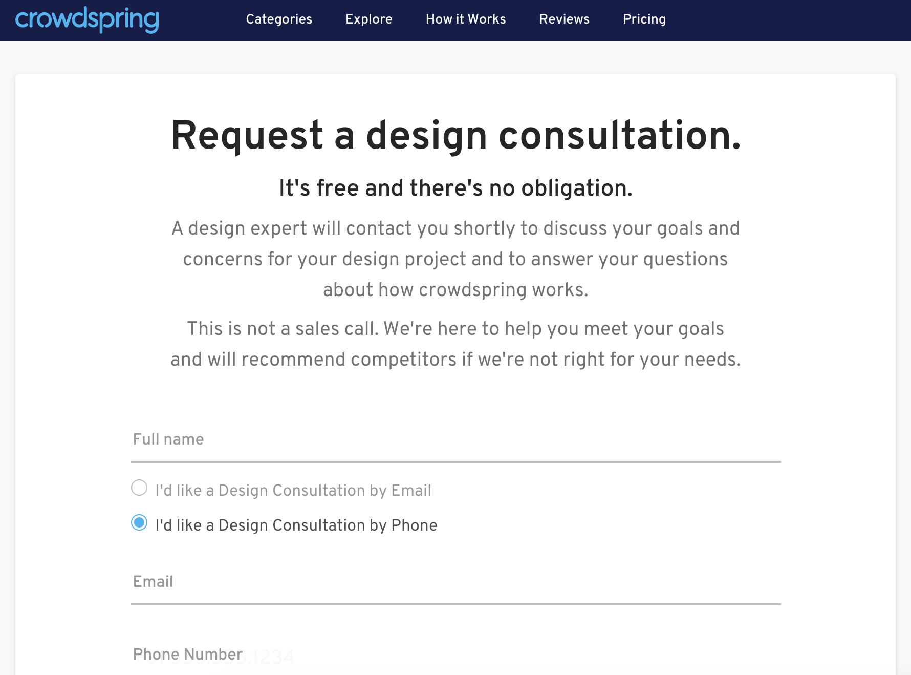 Crowdspring screenshot - free design consultation