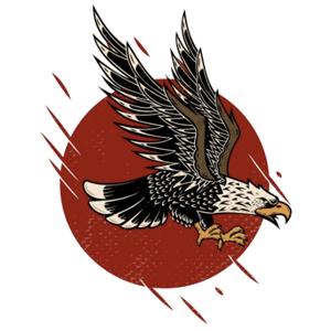 Eagle logo - illustration on red circle