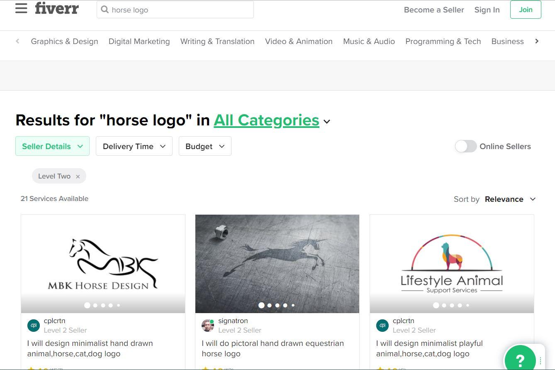 Fiverr screenshot - horse logo designers
