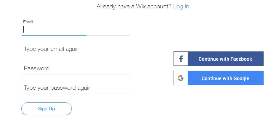 Wix Logo Maker screenshot - Account signup