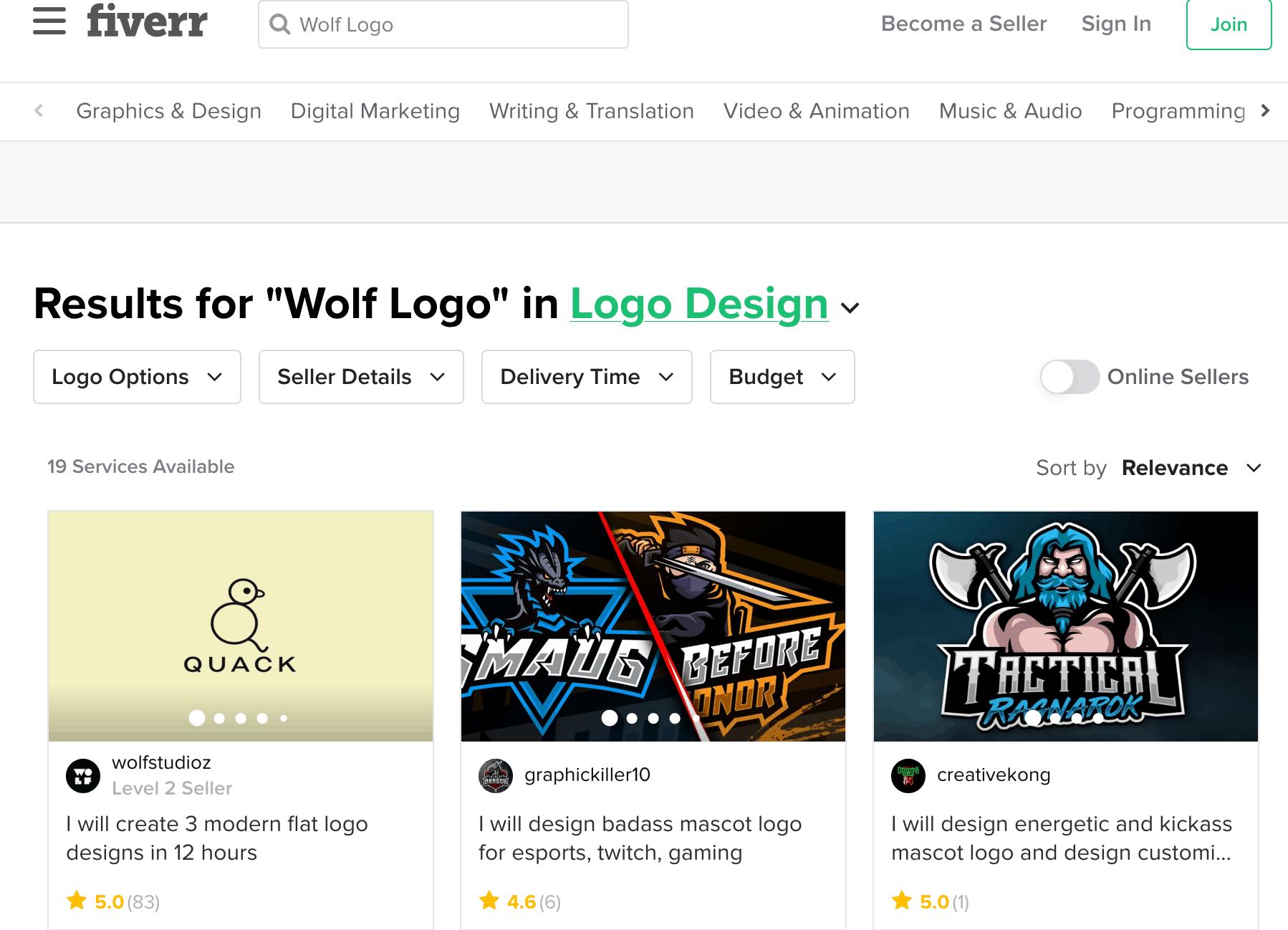 Fiverr screenshot - Wolf logo designers