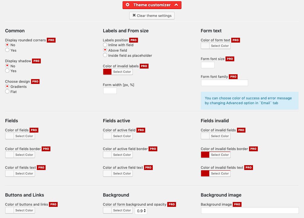 Gator Forms screenshot - Theme customizer