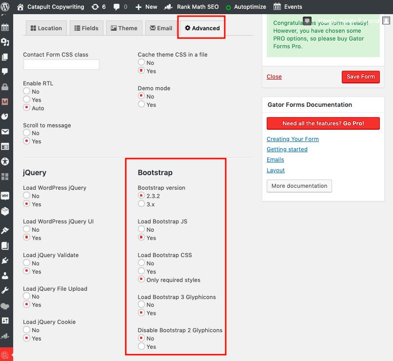 Gator Forms screenshot - Bootstrap versions