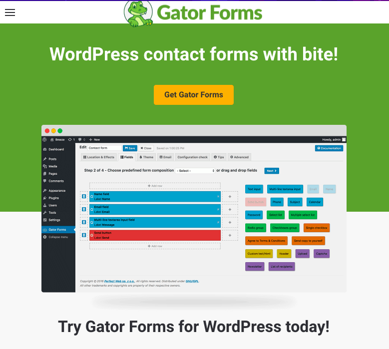 Gator Forms screenshot - homepage