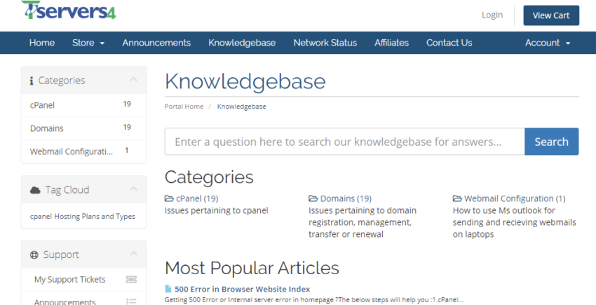 Knowledgebase Tservers4 Webhosting Company 850x435