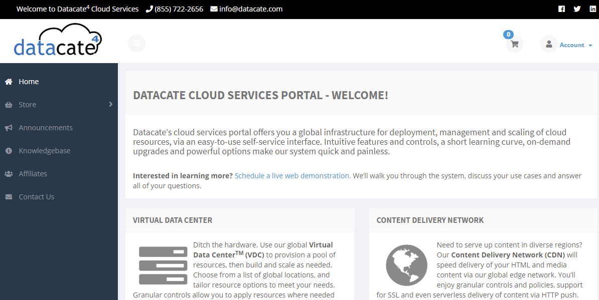 Datacate Main page