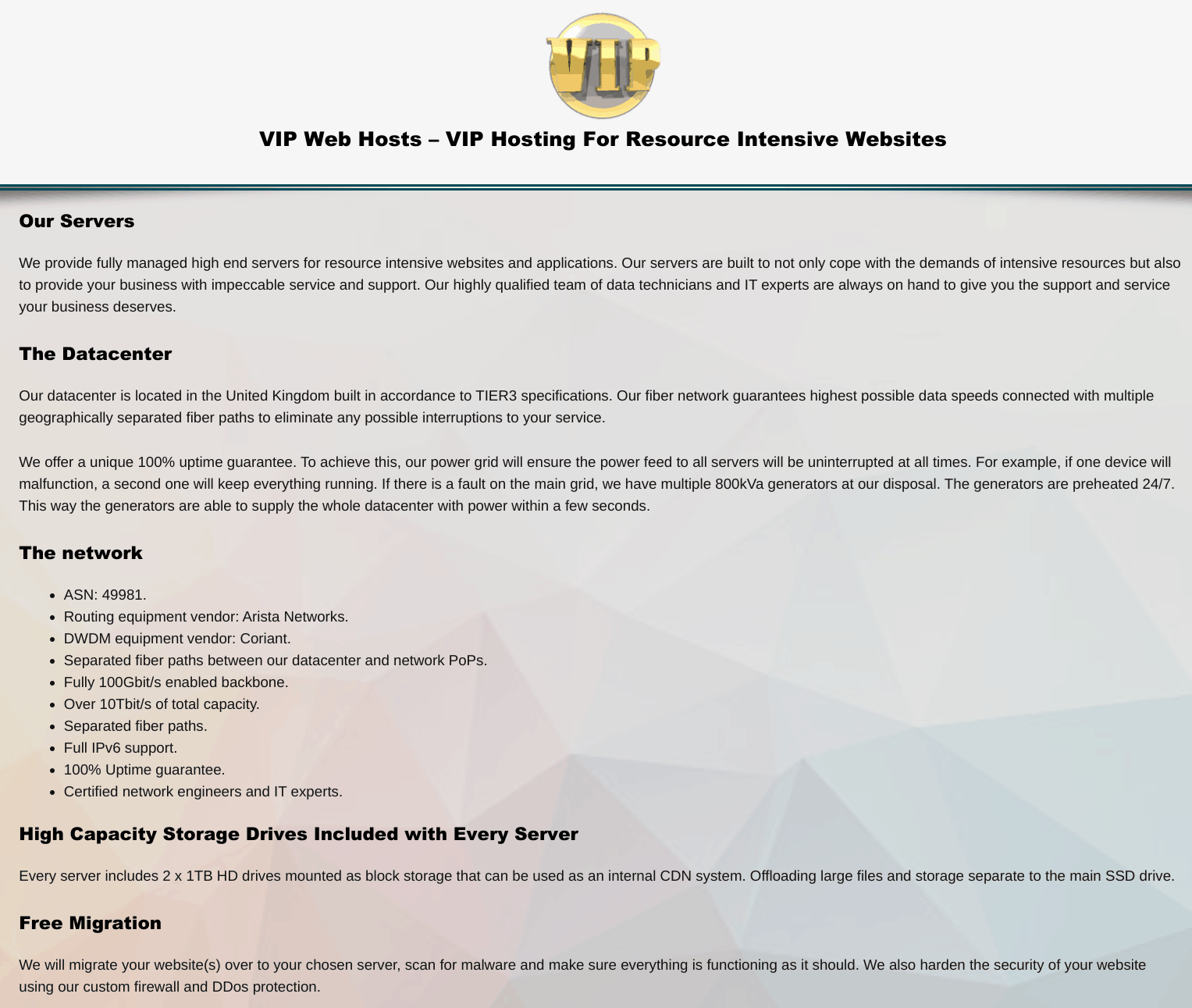 VIP Web Hosts overview