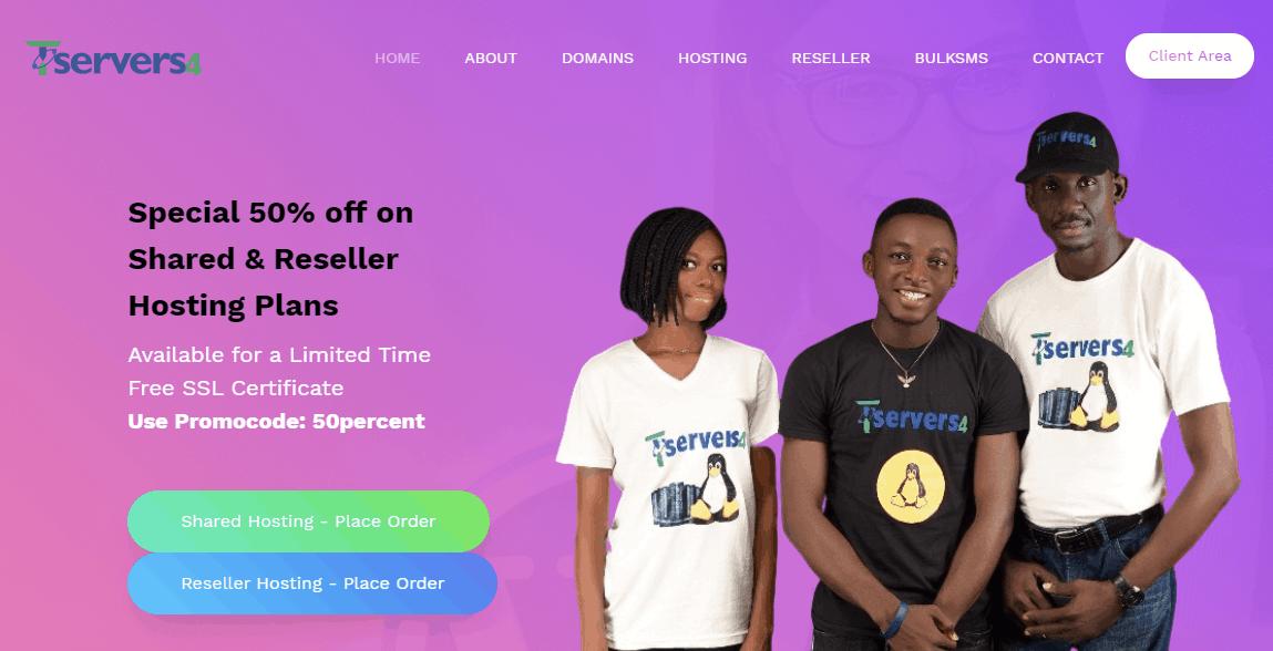 Tservers4 Unlimited Cloud Linux Web hosting cheap domains Nigeria
