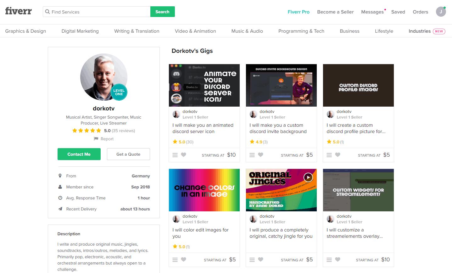 Fiverr screenshot - Discord logo designer profile