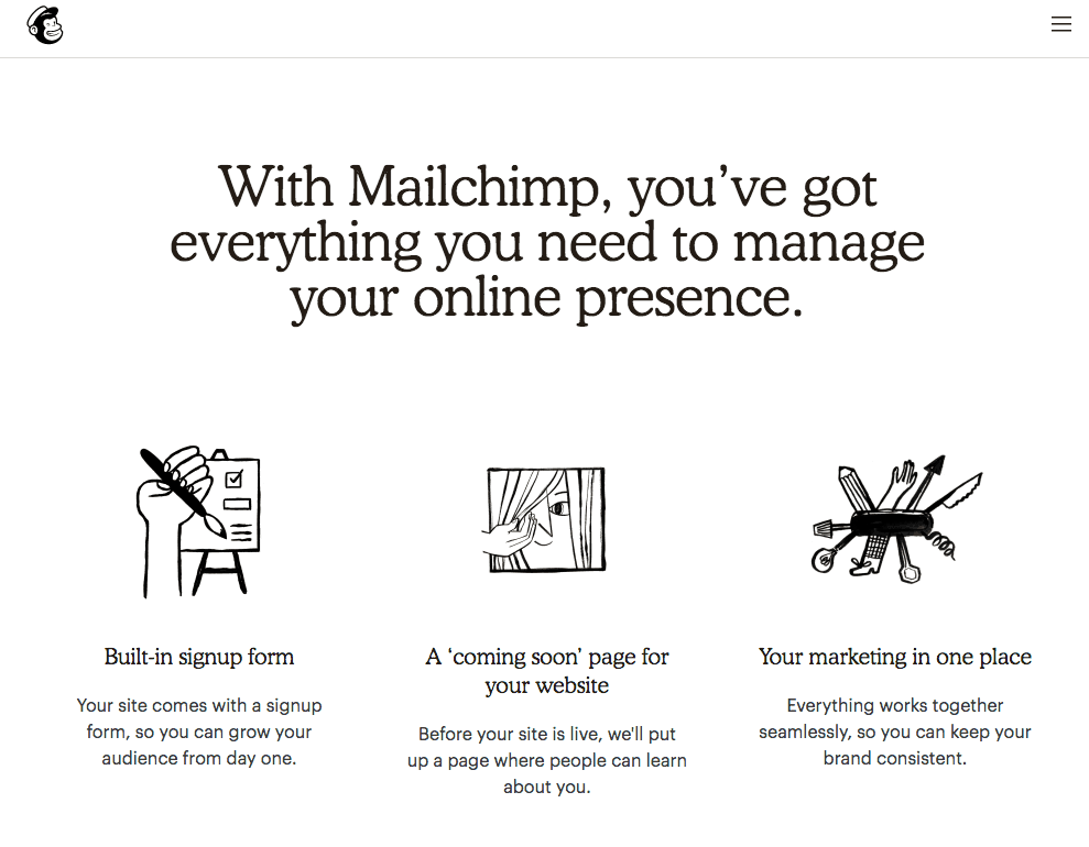 Mailchimp Website Builder features list