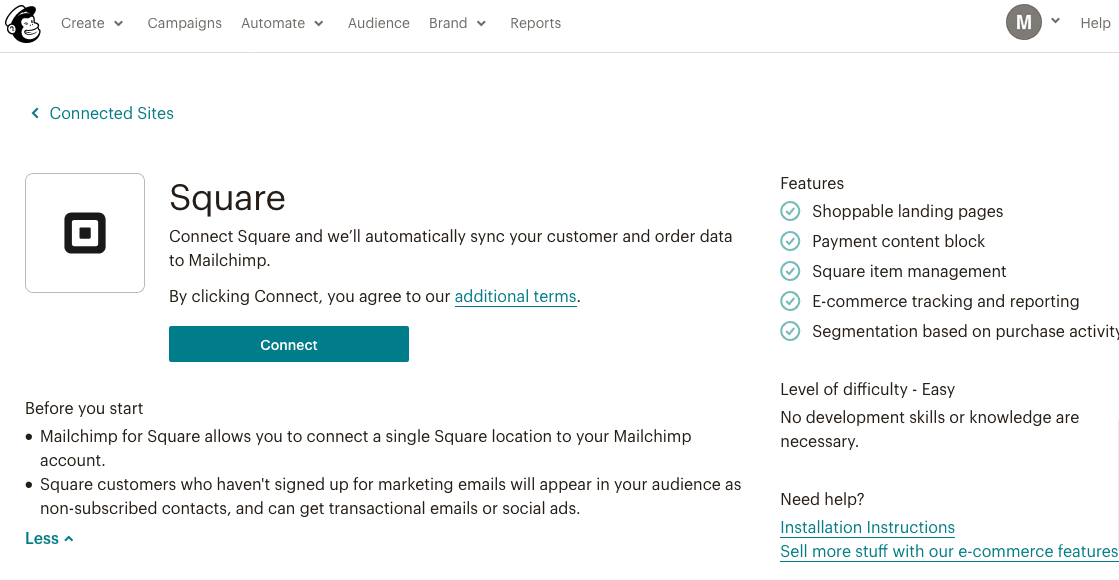 Mailchimp has integration with Square to allow online selling