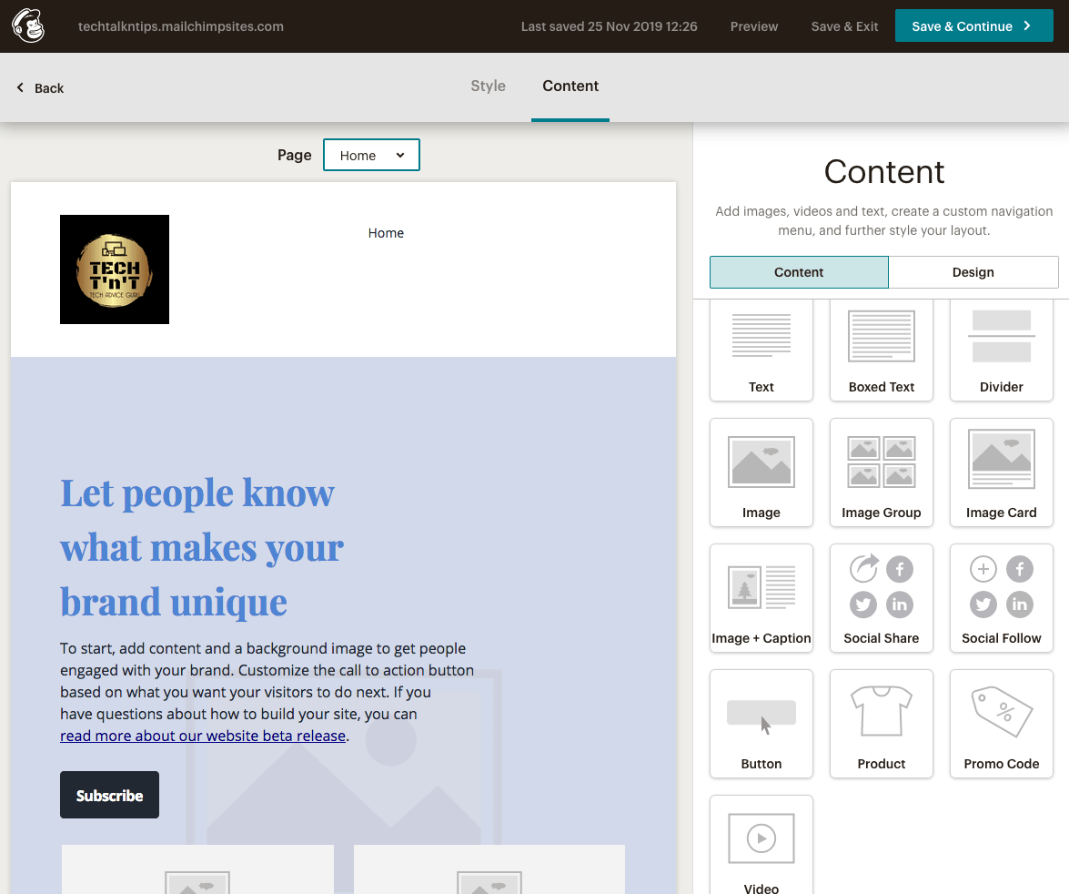 Mailchimp Website Builder content blocks