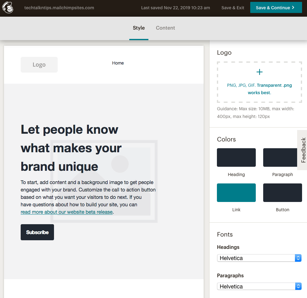 Mailchimp website template