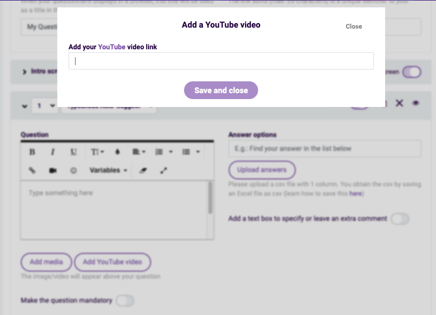 Survey Anyplace screenshot - Adding a YouTube video