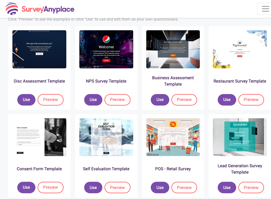 Survey Anyplace screenshot - Template library
