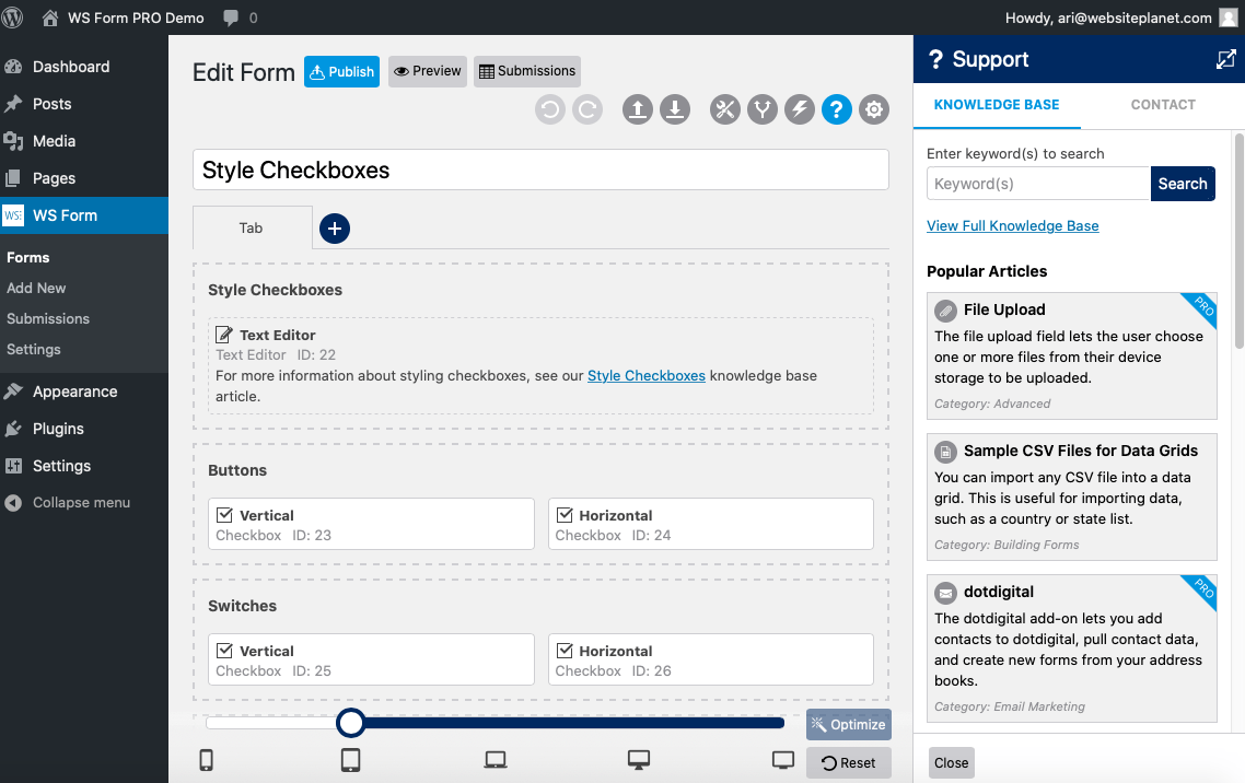 WS Form screenshot - Knowledge Base