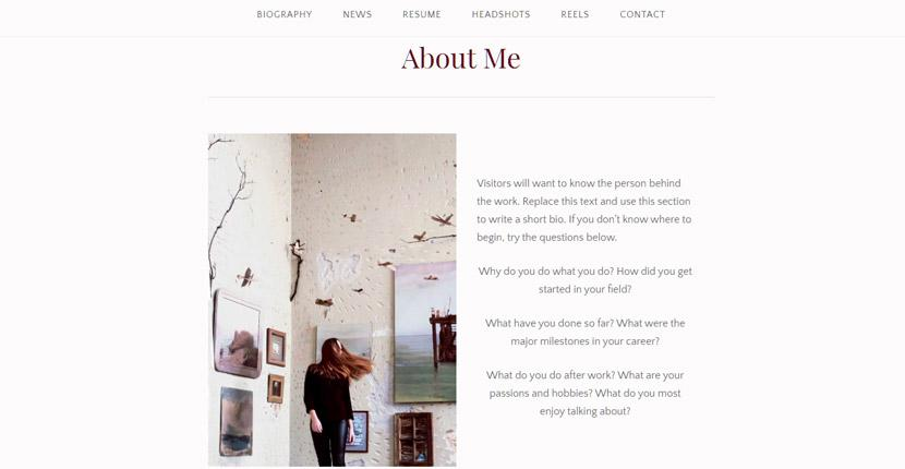 Adding an About Me page to a WordPress.com website