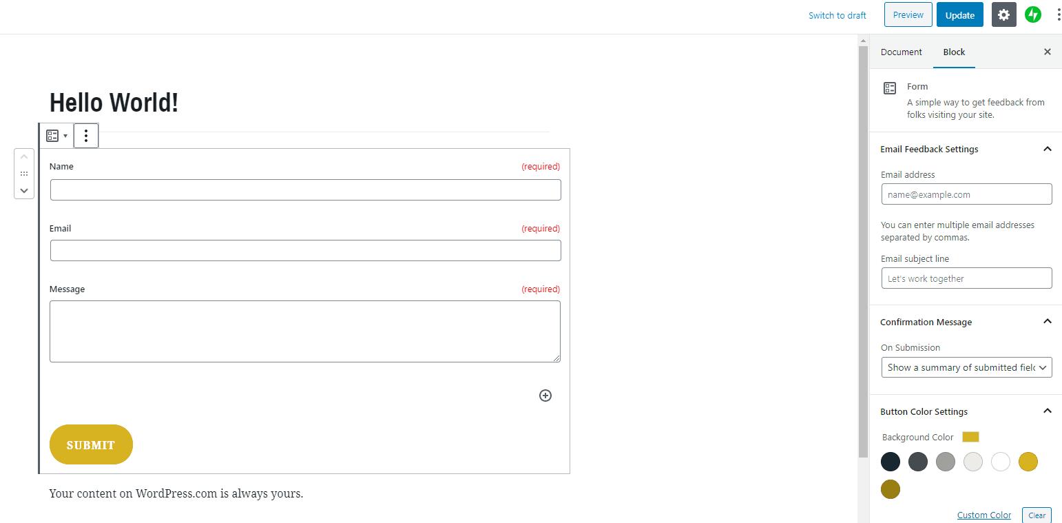 Adding a customizable contact form to a WordPress.com website