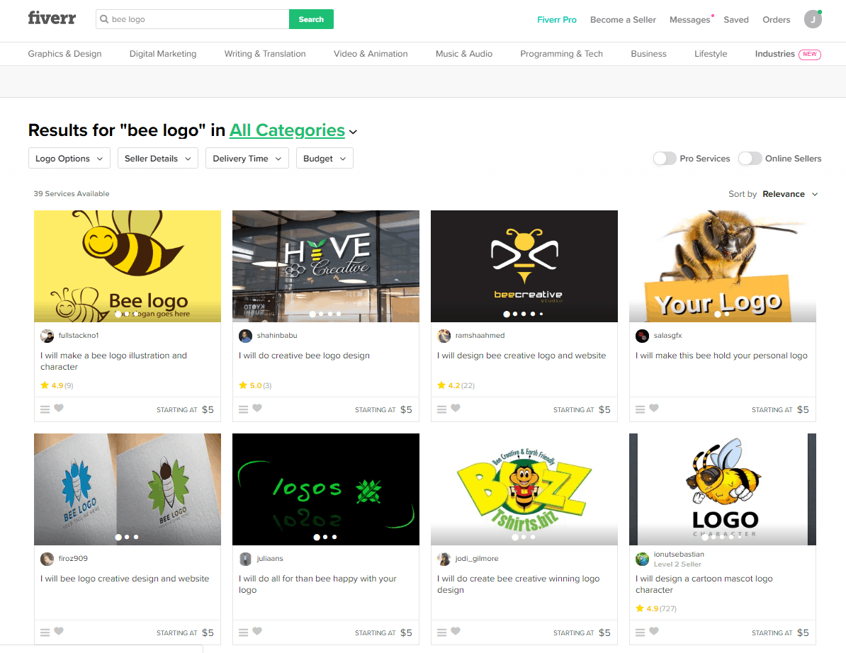 Fiverr screenshot - Bee logo designers
