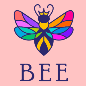 Bee logo - rainbow colors