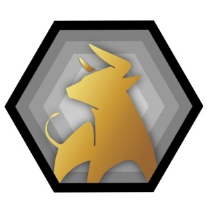 Bull logo - gold on gray