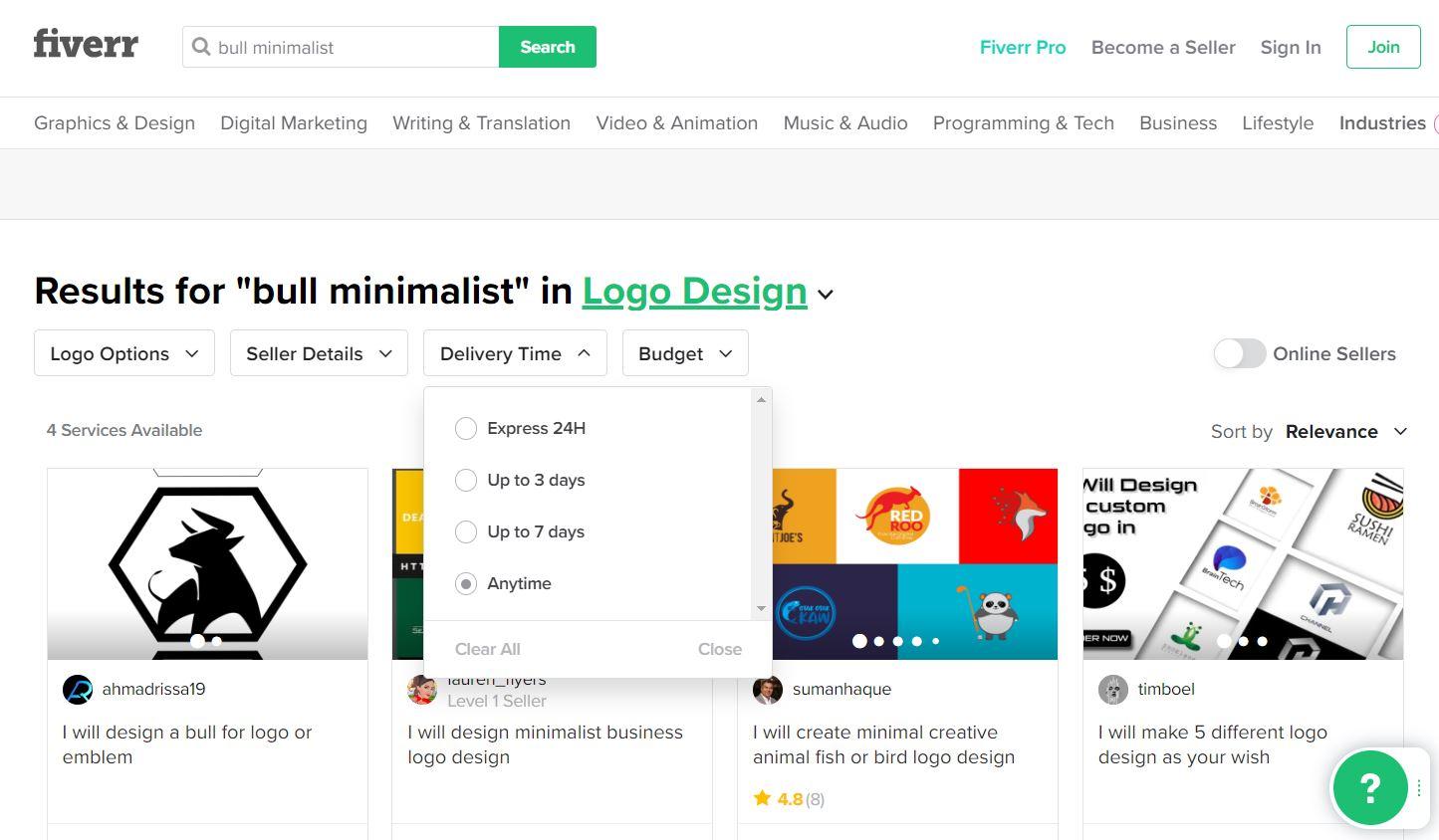 Fiverr screenshot - Bull logo designers