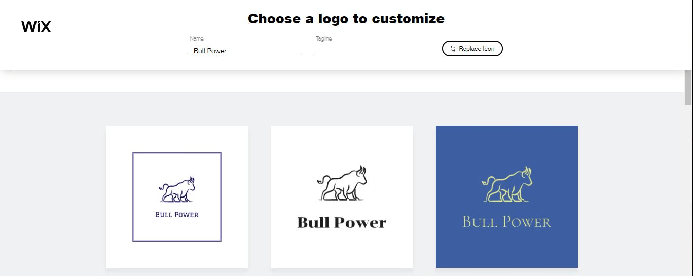 Wix Logo Maker screenshot - AI-generated bull logos