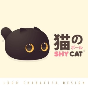 Cat logo - Shy Cat