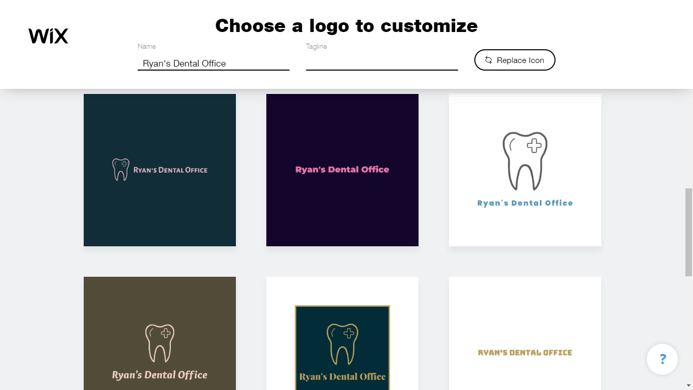 Wix Logo Maker screenshot - AI-generated dental logos