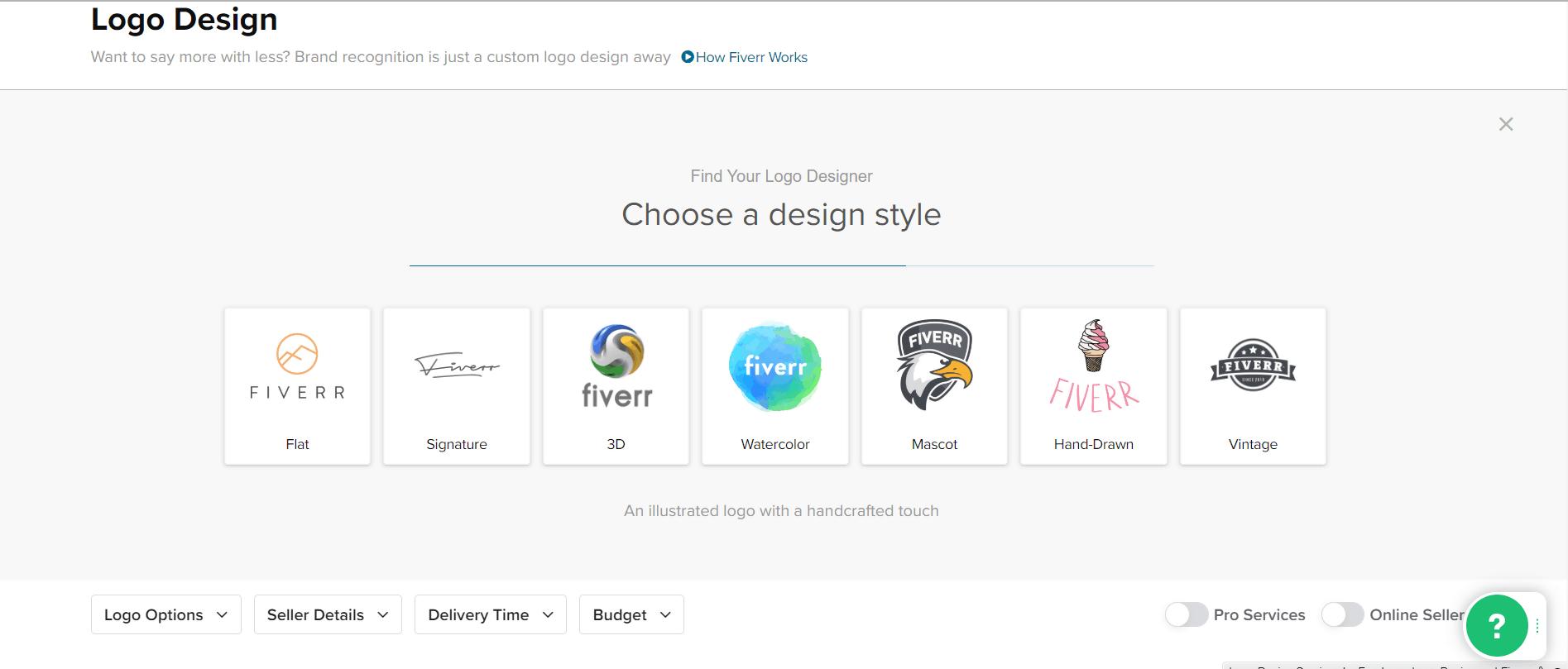 Fiverr screenshot - Choose a design style