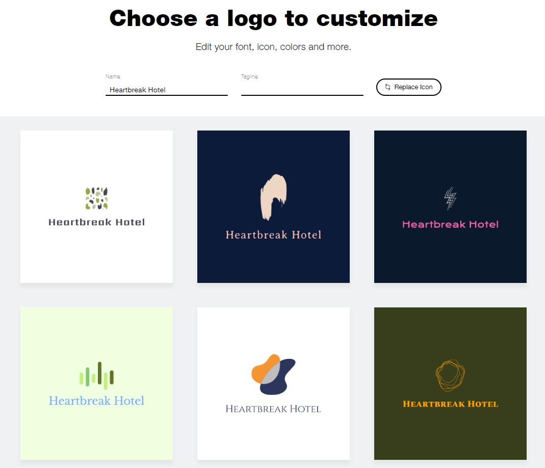 Wix Logo Maker screenshot - AI-generated hotel logos