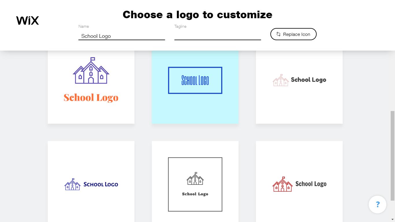 Wix Logo Maker screenshot - AI-generated school logos