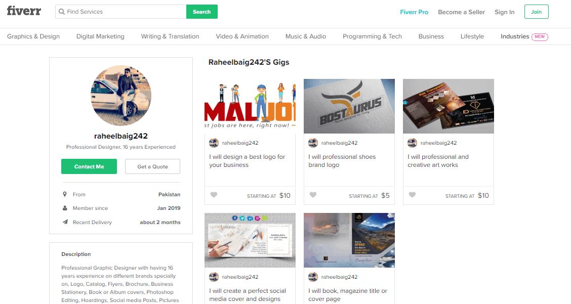 Fiverr screenshot - Shoe logo designer profile