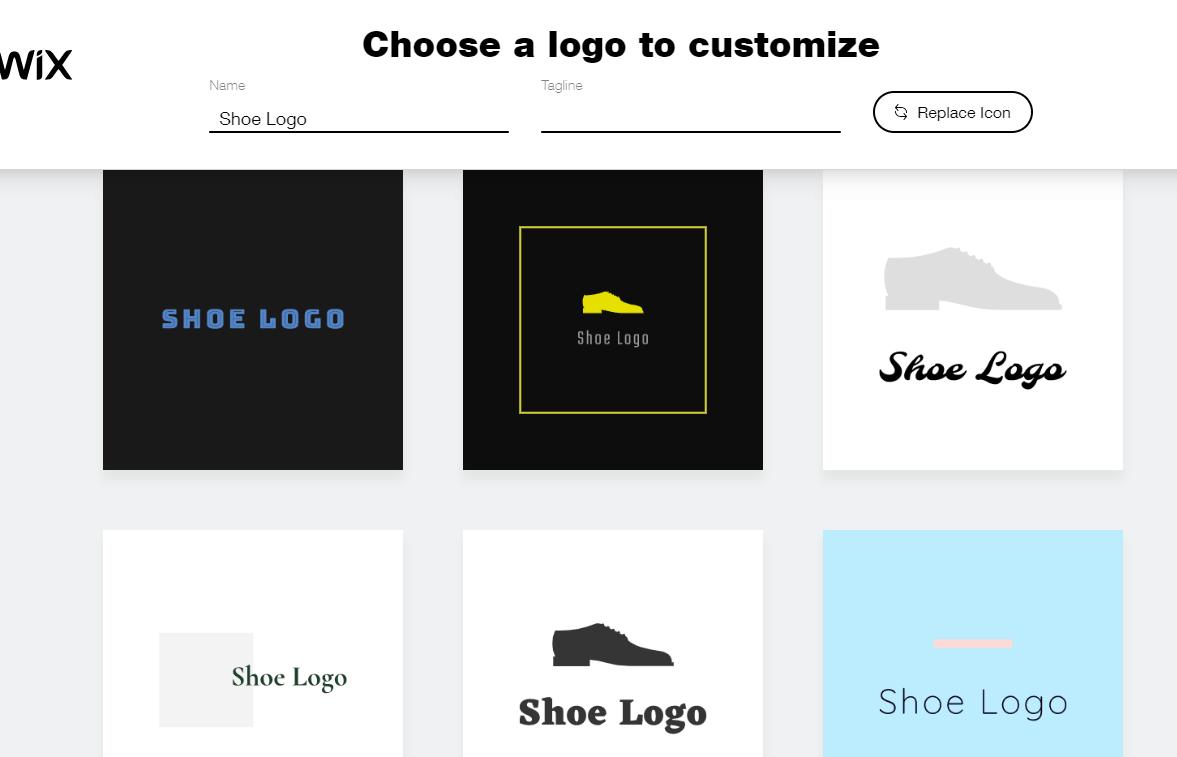 Wix Logo Maker screenshot - AI-generated shoe logos