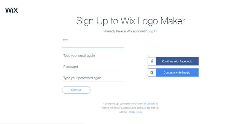 Wix Logo Maker screenshot - Signup screen