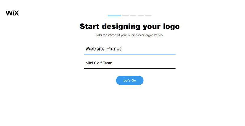 Wix Logo Maker screenshot - Start designing