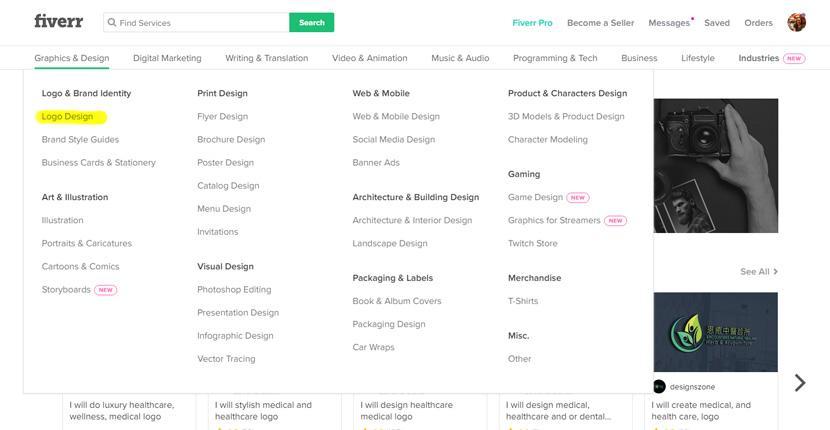 Fiverr screenshot - Graphics and Design menu