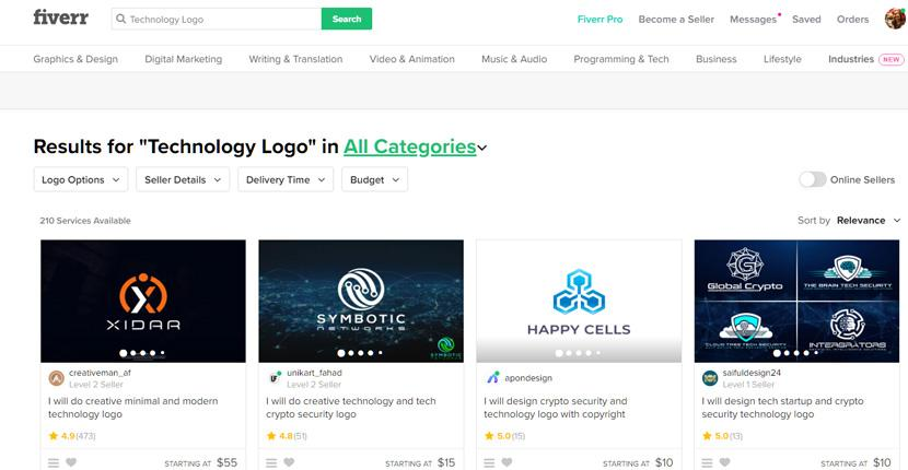 Fiverr screenshot - Technology logo designers