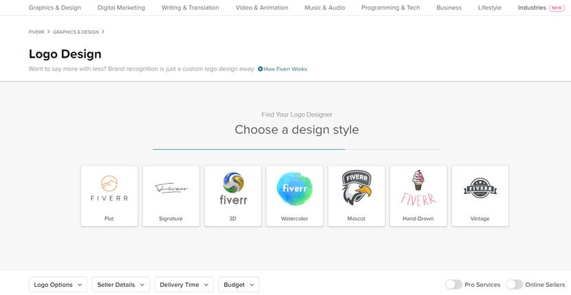 Fiverr screenshot - Logo designer search wizard