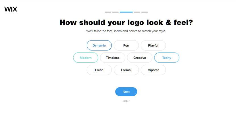 Wix Logo Maker screenshot - Logo look and feel