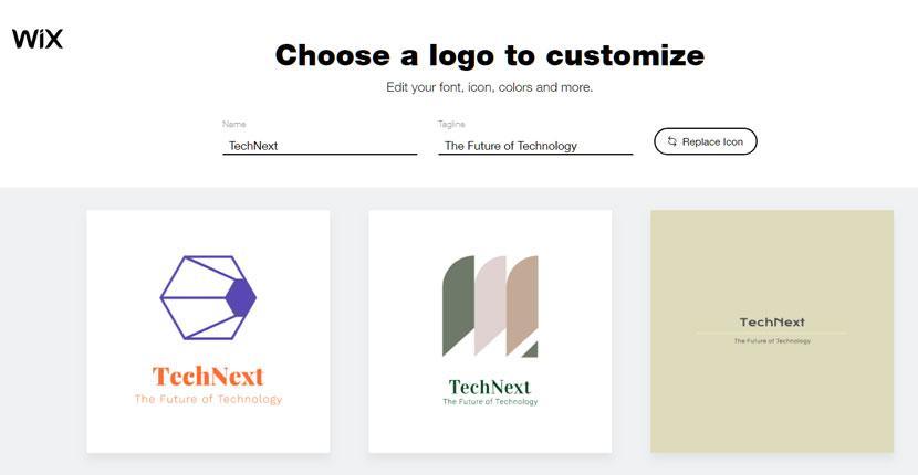 Wix Logo Maker screenshot - AI-generated technology logos