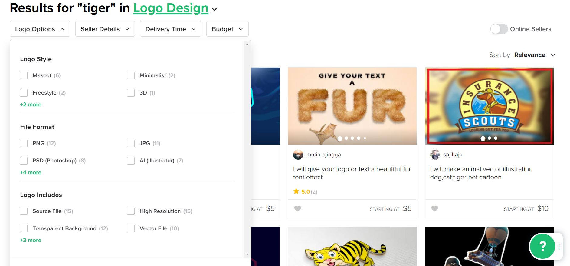 Fiverr screenshot - Tiger logo designers