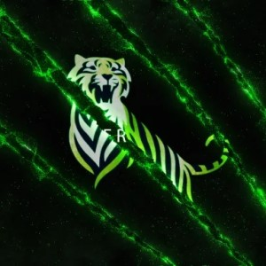 Tiger logo - green on black