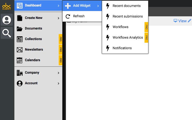 AbcSubmit screenshot - Dashboard