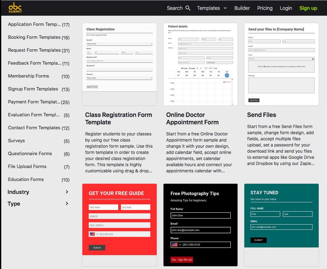 AbcSubmit screenshot - Templates