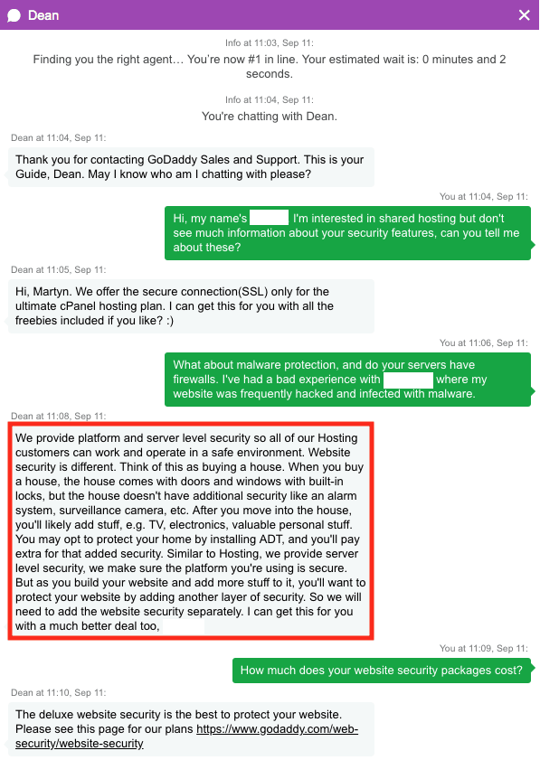 GoDaddy's website security policy as told by customer support