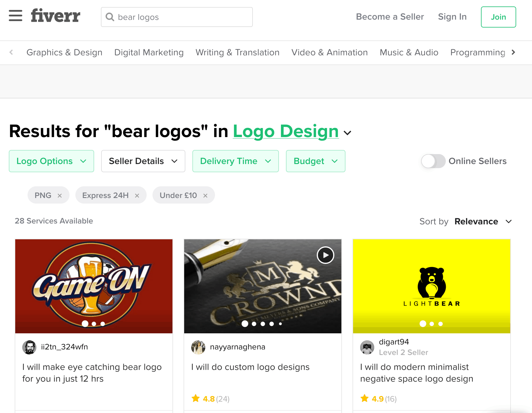 Fiverr screenshot - bear logo designers