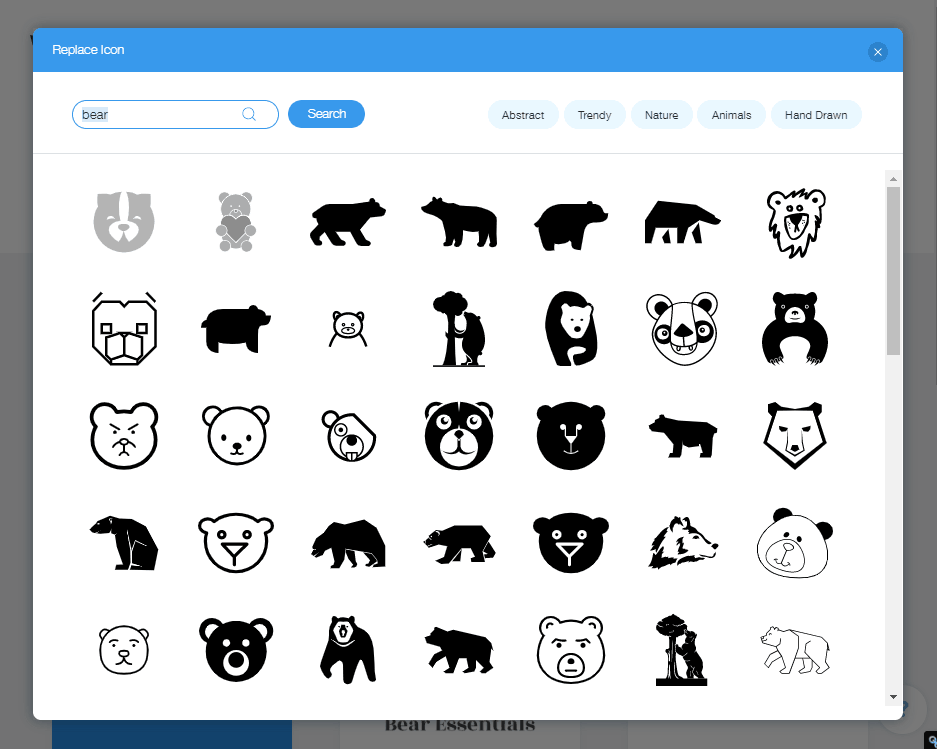 Wix Logo Maker screenshot - Bear icons